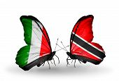 Two Butterflies With Flags On Wings As Symbol Of Relations Italy And Trinidad And Tobago