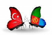 Two Butterflies With Flags On Wings As Symbol Of Relations Turkey And Eritrea
