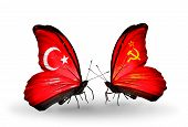 Two Butterflies With Flags On Wings As Symbol Of Relations Turkey And Soviet Union