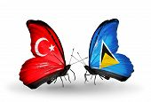 Two Butterflies With Flags On Wings As Symbol Of Relations Turkey And Saint Lucia
