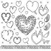Hand Drawn Heart Elements Bubbles Set