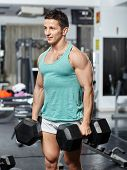 Man Doing Workout With Heavy Dumbbells