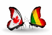 Two Butterflies With Flags On Wings As Symbol Of Relations Canada And Mali