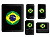 Mobile Devices With Brazil Football Black