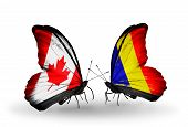 Two Butterflies With Flags On Wings As Symbol Of Relations Canada And Chad, Romania