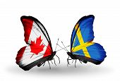 stock photo of sweden flag  - Two butterflies with flags on wings as symbol of relations Canada and Sweden - JPG