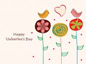 Cute love birds sitting on creative flowers with heart shape for Happy Valentine's Day celebrations.