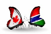 Two Butterflies With Flags On Wings As Symbol Of Relations Canada And Gambia
