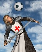 Saint George heading a football with blue sky background