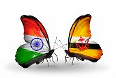 Two Butterflies With Flags On Wings As Symbol Of Relations India And Brunei