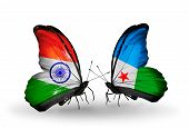 Two Butterflies With Flags On Wings As Symbol Of Relations India And Djibouti