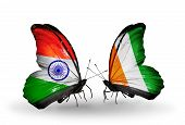 Two Butterflies With Flags On Wings As Symbol Of Relations India And Cote Divoire