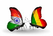 Two Butterflies With Flags On Wings As Symbol Of Relations India And Mali