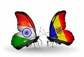 Two Butterflies With Flags On Wings As Symbol Of Relations India And Moldova