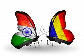 Two Butterflies With Flags On Wings As Symbol Of Relations India And Chad, Romania
