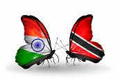 Two Butterflies With Flags On Wings As Symbol Of Relations India And Trinidad And Tobago