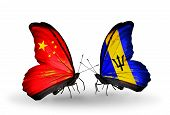 Two Butterflies With Flags On Wings As Symbol Of Relations China And Barbados