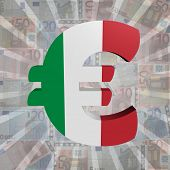 Euro symbol with Italian flag on Euro currency illustration