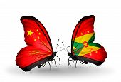 Two Butterflies With Flags On Wings As Symbol Of Relations China And Grenada