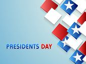 Happy Presidents Day celebration with shiny 3D blocks in United State of American flag color with stars on sky blue background.