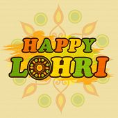 Colorful text Happy Lohri on floral rangoli decorated background, can be used as poster or banner design.