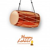 Punjabi festival, Happy Lohri celebration with glossy drum on white background.