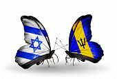 Two Butterflies With Flags On Wings As Symbol Of Relations Israel And Barbados