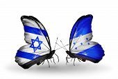 Two Butterflies With Flags On Wings As Symbol Of Relations Israel And Honduras