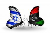 Two Butterflies With Flags On Wings As Symbol Of Relations Israel And Libya