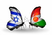 Two Butterflies With Flags On Wings As Symbol Of Relations Israel And Niger