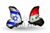Two Butterflies With Flags On Wings As Symbol Of Relations Israel And  Syria