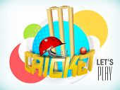 Colorful stickers with 3D golden text Cricket, wicket stumps, ball and helmet on sky blue background.