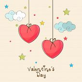 Beautiful decorated love greeting card for Happy Valentine's Day celebration with hanging red heart shape balloons.