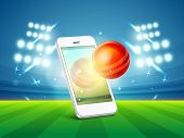stock photo of cricket ball  - Stylish smartphone video screen showing red cricket ball in stadium light - JPG
