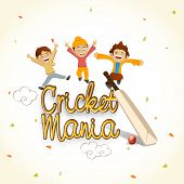Cute little kids enjoying with bat and red ball for Cricket Mania.