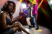 pic of cheating  - black male cheating on girlfriend with seductive white female at club - JPG