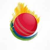 Cricket sports concept with shiny red ball on colorful abstract background.