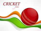 Cricket sports concept with red ball and Indian Flag color waves on white background.