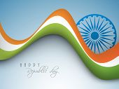 stock photo of ashoka  - National flag color waves with Ashoka Wheel for Happy Indian Republic Day celebration on shiny blue background - JPG