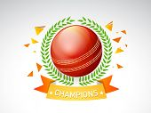 Glossy red ball surrounded by laurel wreath for Cricket on grey background.