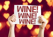 Wine card with heart bokeh background