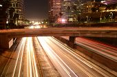 city freeways light trails