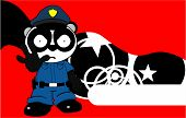 angry panda bear cop cartoon background