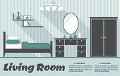 picture of mirror  - Living room interior flat infographic template in blue and grey colors includes striped wallpaper - JPG