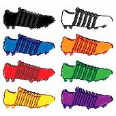 Football Cleats With Stripes In Different Pencil Style