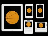 Mobile Devices With Basketball White