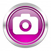 photo camera violet icon photography sign