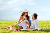 love, dating, people and holidays concept - smiling couple drinking champagne on picnic over blue sky and grass background