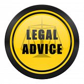 legal advice icon, yellow logo, law sign