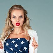 Pinup Girl With American Flag